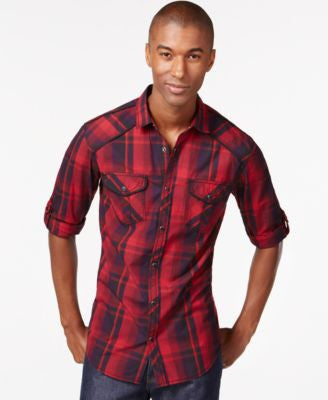 INC International Concepts Men's Zamire Plaid Long-Sleeve Shirt, Only at Vogily