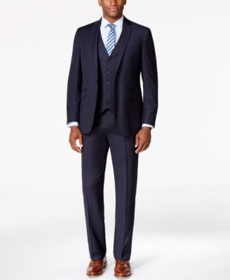 Kenneth Cole Reaction Navy Vested Pinstripe Slim-Fit Suit