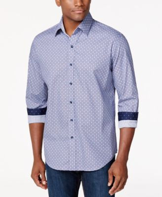 Tasso Elba Medallion-Print Long-Sleeve Shirt, Only at Vogily