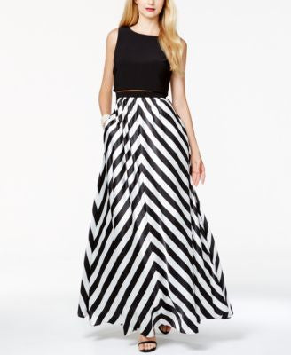 Betsy & Adam Chevron Striped Mesh Popover Gown
