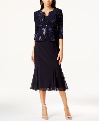 Alex Evenings Petite Sleeveless Sequin Midi Dress and Jacket