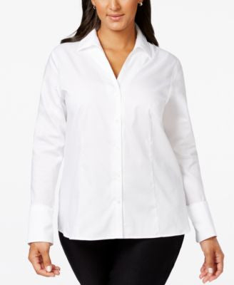Calvin Klein Plus Size No-Iron Button-Down Shirt