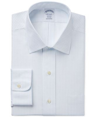 Brooks Brothers Regent Classic-Fit Non-Iron Light Blue Grid Check Dress Shirt