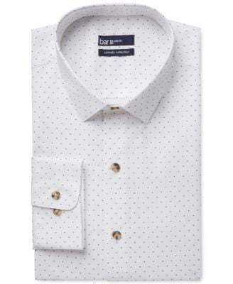 Bar III Carnaby Collection Slim-Fit White Navy Polka Dot Print Dress Shirt, Only at Vogily