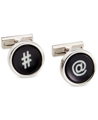 Kenneth Cole New York Polished Rhodium Cufflinks with Black Resin Inserts