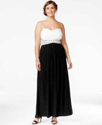 City Chic Plus Size Convertible Colorblocked Gown