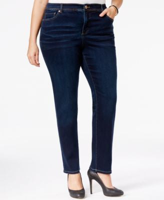 INC International Concepts Plus Size Tummy-Control Straight-Leg Medium Blue Wash Jeans, Only at Vogi