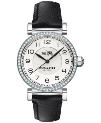 COACH WOMEN'S MADISON FASHION BLACK LEATHER STRAP WATCH 32mm 14502399