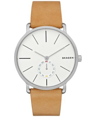 Skagen Men's Hagen Brown Leather Strap Watch 40mm SKW6215
