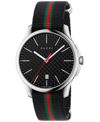 Gucci Men's Swiss G-Timeless Black Striped Nylon NATO Strap Watch 40mm YA126321