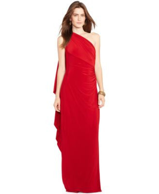 Lauren Ralph Lauren One-Shoulder Ruched Gown