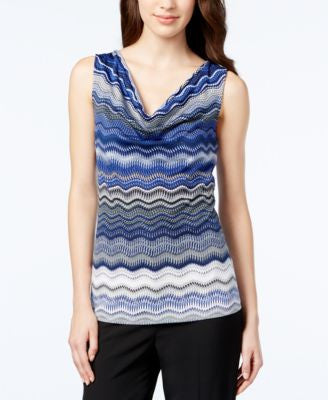 Tahari ASL Sleeveless Printed Drape-Neck Top