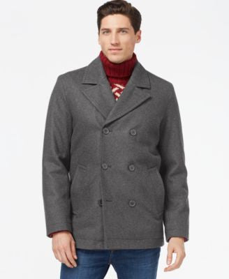 Tommy Hilfiger Big & Tall Double-Breasted Peacoat