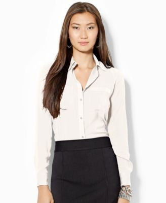 Lauren Ralph Lauren Satin Button-Front Blouse