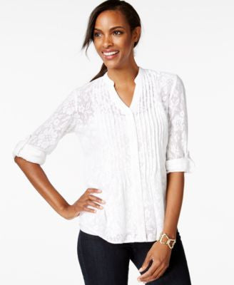Style & Co. Petite Pintucked Button-Front Lace Blouse, Only at Vogily