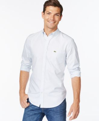 Lacoste Solid Woven Button-Down Oxford Shirt