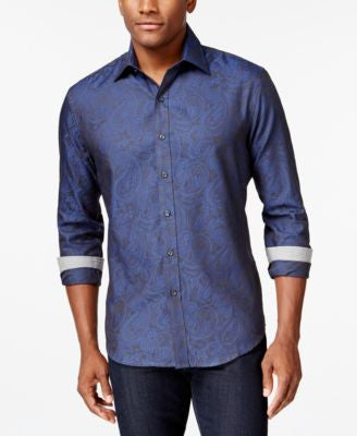 Tasso Elba Men's Long-Sleeve Paisley Jacquard Shirt