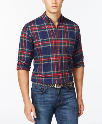 Club Room Long Sleeve Slim-Fit Tartan Shirt, Only at Vogily