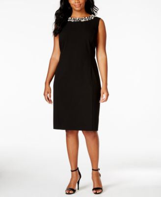 Calvin Klein Plus Size Sleeveless Pearl-Bead-Trim Sheath