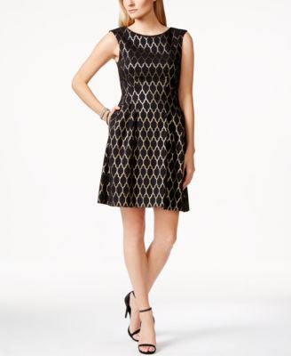 Vince Camuto Foil Lattice-Print Pleated Fit & Flare Dress