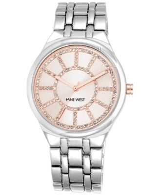 Nine West Women's Silver-Tone Bracelet Watch 38mm NW/1807PKSB