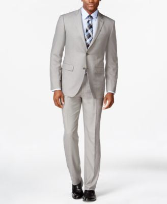 Perry Ellis Portfolio Light Grey Sharkskin Slim-Fit Suit