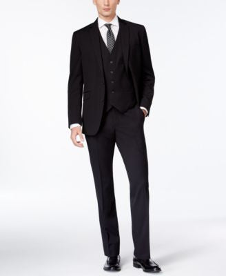 Kenneth Cole Reaction Slim-Fit Black Tonal-Stripe Vested Suit