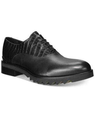 John Galliano Mixmedia Plain Toe Lug Sole Oxfords