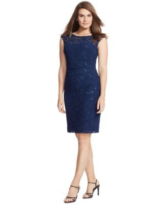 Lauren Ralph Lauren Plus Size Sequined Lace Dress