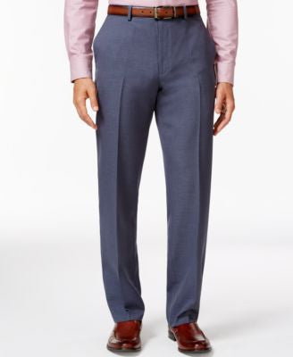 Alfani Big and Tall Steel-Blue Slim Flat-Front Pants, Only at Vogily