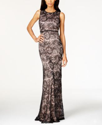 Nightway Petite Open-Back Sequined Lace Gown