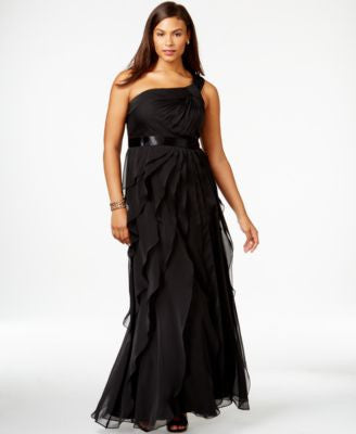 Adrianna Papell Plus Size One-Shoulder Tiered Chiffon Gown