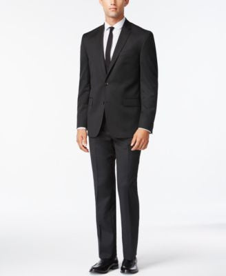 Kenneth Cole New York Performance Wear Solid Black Slim-Fit Suit