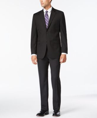 IZOD Black Tonal Stripe Classic-Fit Suit