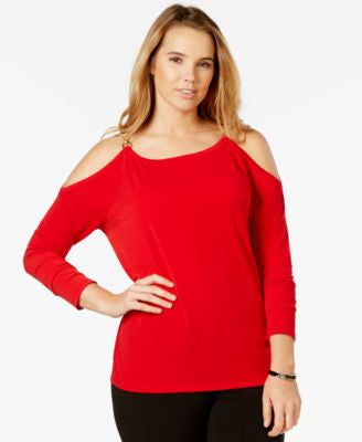 MICHAEL Michael Kors Plus Size Cold Shoulder Chain-Link Top