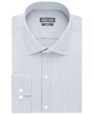 Kenneth Cole Reaction Slim-Fit Performance Pool Blue Multi Stripe Dress Shirt