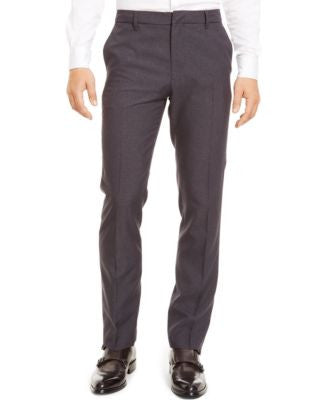 Kenneth Cole Reaction Straight-Leg Flat-Front Grid Pants
