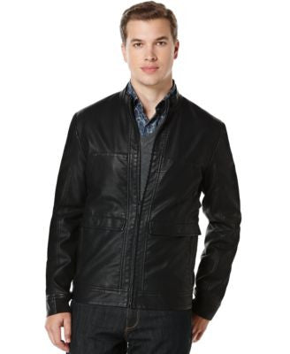 Perry Ellis Textured Faux-Leather Bomber Jacket