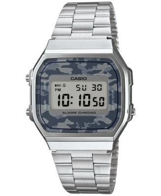 Casio Men's Digital Stainless Steel Bracelet Watch 38x36mm A168WEC-1MT