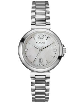 Bulova Women's Diamond Accent Stainless Steel Bracelet Watch 30mm 96P149