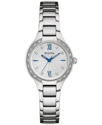 Bulova Women's Diamond (1/8 ct. t.w.) Stainless Steel Bracelet Watch 28mm 96R208, A Vogily Exclusive