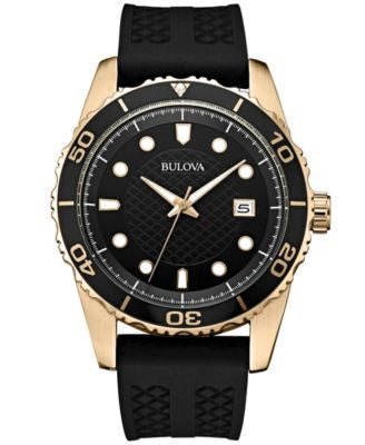 Bulova Men's Black Silicone Strap Watch 43mm 98B261