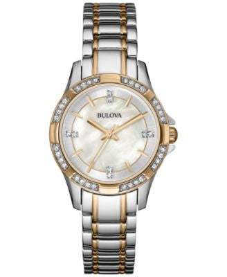 Bulova Women's Crystal Accent Two-Tone Stainless Steel Bracelet Watch 30mm 98L203