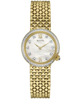 Bulova Women's Diamond (1/6 ct. t.w.) Gold-Tone Stainless Steel Bracelet Watch 28mm 98R218