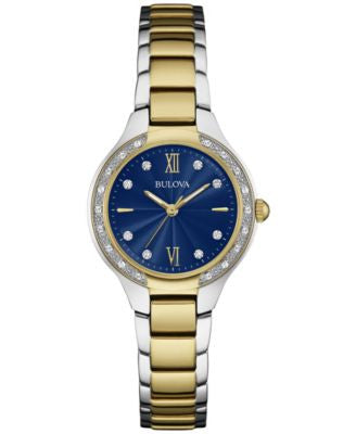 Bulova Women's Diamond (1/8 ct. t.w.) Two-Tone Stainless Steel Bracelet Watch 28mm 98R223, A Vogily