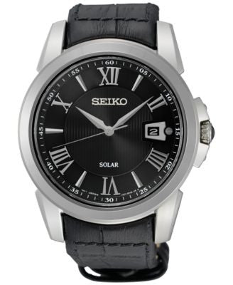 Seiko Men's Solar Sport Black Leather Strap Watch 43mm SNE397