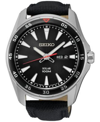 Seiko Men's Solar Sport Black Leather Strap Watch 43mm SNE399