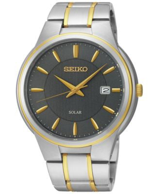 Seiko Men's Solar Calendar Two-Tone Bracelet Watch 42mm SNE404