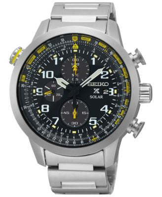 Seiko Men's Solar Chronograph Prospex Stainless Steel Bracelet Watch 44mm SSC369