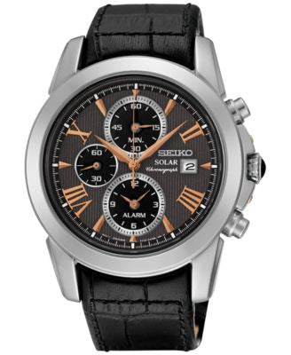 Seiko Men's Solar Chronograph Le Grand Sport Black Leather Strap Watch 42mm SSC379